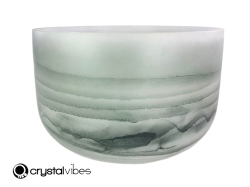 """14"""" A Note Moss Agate Fusion Empyrean Crystal Singing Bowl +20 cents  11001828"""