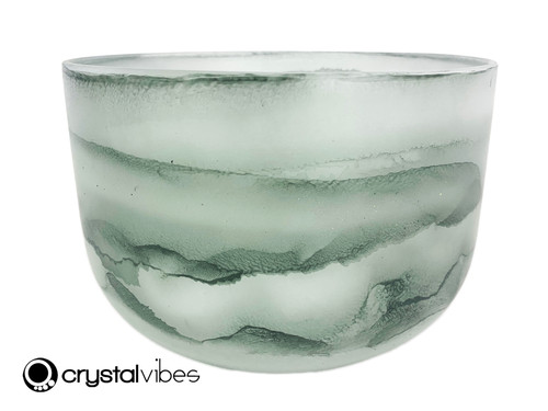 """8"""" 432Hz Perfect Pitch A Note Moss Agate Fusion Empyrean Crystal Singing Bowl -35 cents  11001832"""