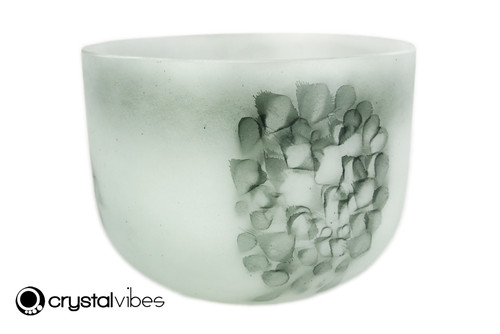 """9"""" Perfect Pitch F Note Moss Agate Fusion Empyrean Crystal Singing Bowl +0 cents  11001868"""