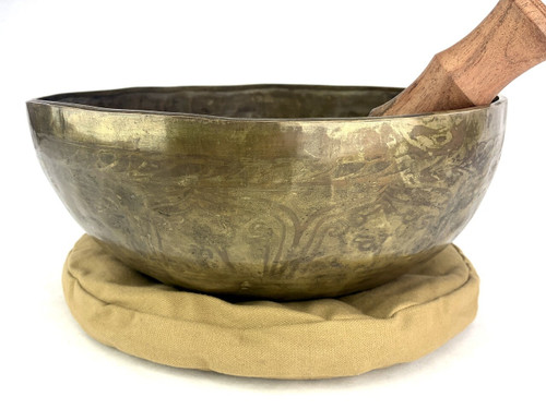 """13.25"""" F/B Note Golden Buddha Etched Himalayan Singing Bowl #f36740121"""