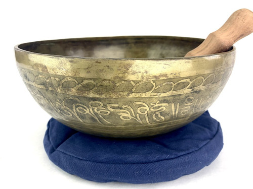 "11"" A/D# Note Etched Golden Buddha Himalayan Singing Bowl #a22520121"