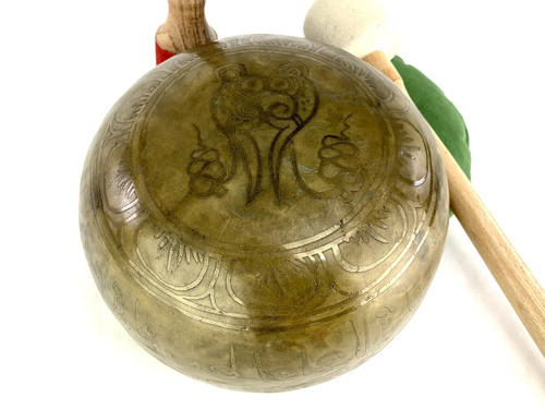 """8.75"""" D#/A Note Etched Golden Buddha Himalayan Singing Bowl #d12450320"""