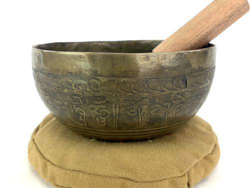 """5.5"""" D#/G# Note Etched Golden Buddha Himalayan Singing Bowl #d5441220"""