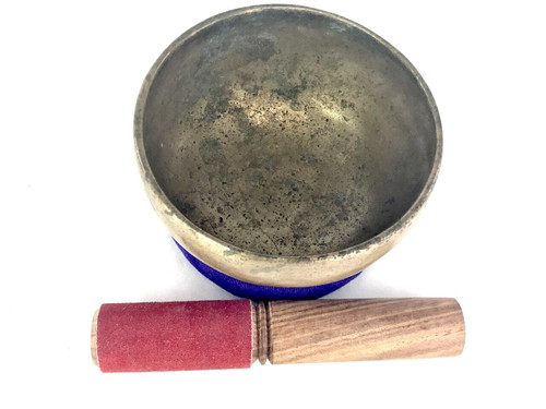 """4.5"""" A#/F Note Antique Himalayan Singing Bowl #a2520221"""