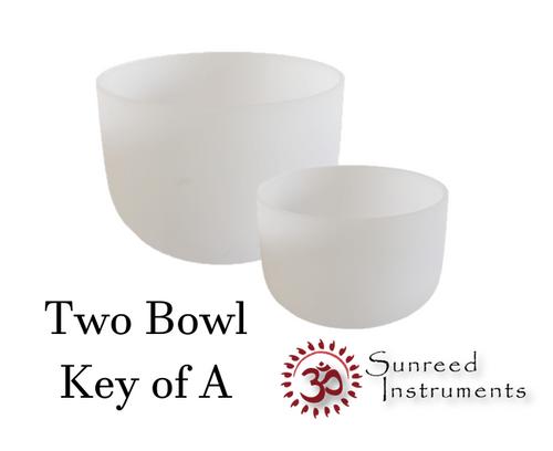 2 Bowl Key Of A Harmonic Chord Crystal Singing Bowl Set