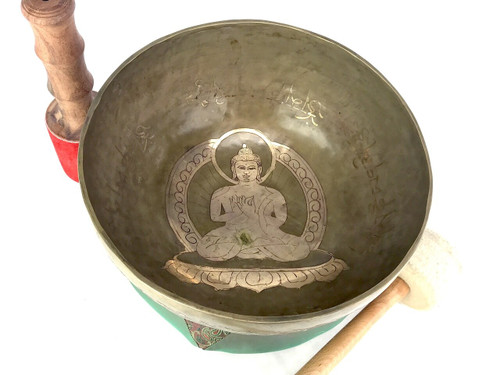 "10.5"" A#/E Note Etched Golden Buddha Himalayan Singing Bowl #a19680221"