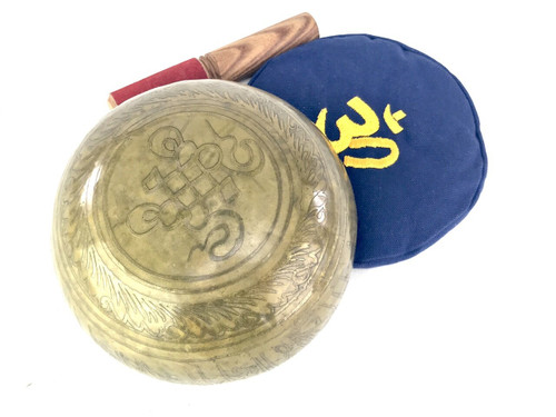 """6.5"""" A#/E Note Etched Golden Buddha Himalayan Singing Bowl #a8160221"""