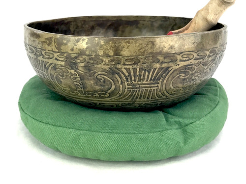 """9.25"""" D#/A Note Etched Golden Buddha Himalayan Singing Bowl #d18200221"""