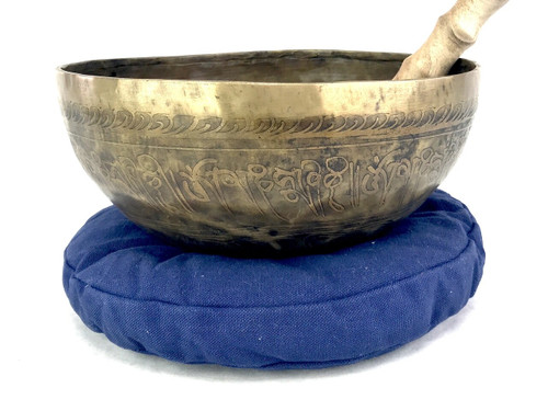 """9.75"""" A#/F Note Special Unique Etched Golden Himalayan Singing Bowl #a17400221"""