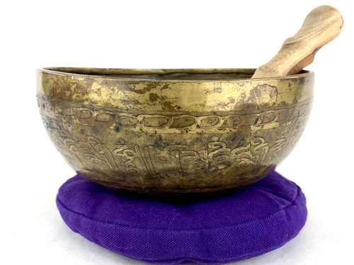 """8.75"""" E/A# Note Etched Himalayan Singing Bowl #e15850321"""