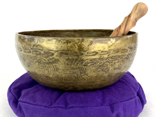 """9"""" D#/A# Note Etched Himalayan Singing Bowl #d16100321"""