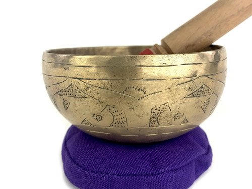 """4.75"""" A#/D# Note Engraved Himalayan Bowl #a4300321xx"""