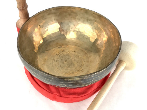 """10.75"""" A#/F Note Dark Etched Himalayan Singing Bowl #a17950421"""