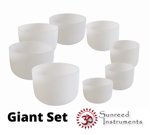 Giant 8 Bowl Set Of Frosted Crystal Singing Bowls