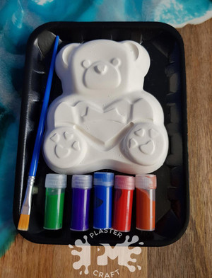 PM Plaster Craft Heart Teddy Bear Small Gift Pack