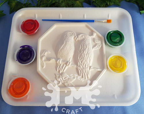 PM Plaster Craft Two Parrots Bird Plaque Medium Gift Pack