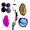 Agate Windchimes - Large - Multi Color Agate Slabs with Bamboo style hanger