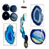 Agate Windchimes - Blue Agate Slabs with Bamboo style hanger - Large