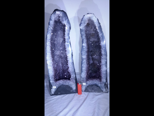 """Beautiful Pair of Amethyst Church Crystal Towers;  Cathedral Geodes- 23"""" Tall"""