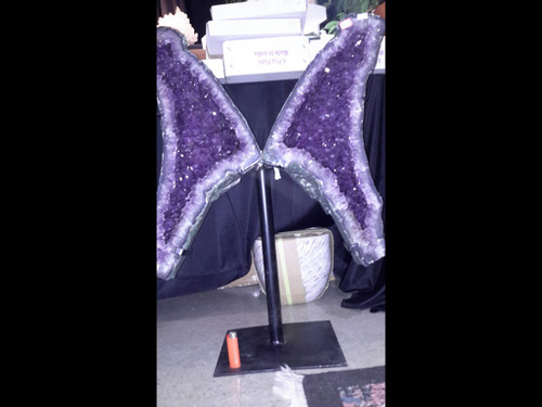 """Beautiful Pair of Amethyst Church Crystal Cathedral Wings - 32"""" Tall"""