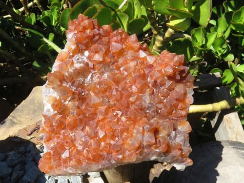Natural Tangerine Hematoid Quartz Plate from Zambia