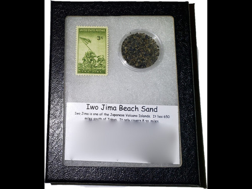 Iwo Jima Beach Sand and Postage Stamp - Commemorative Collection