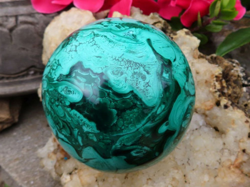 Polished Solid Malachite Sphere from Congo - 91 mm