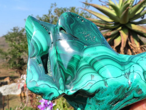 Polished Solid Malachite Sculpture / Freeform - Congo