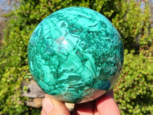 Polished Solid Malachite Sphere from Congo -  84 mm