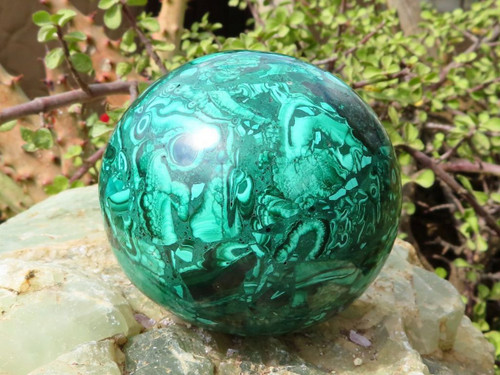 Polished Solid Malachite Sphere from Congo -  82 mm