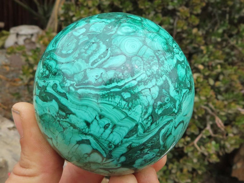 Polished Solid Malachite Sphere from Congo -  72 mm