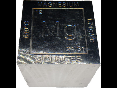 Elemental Cube Collection: 1.25 Inch  Solid Magnesium Cube