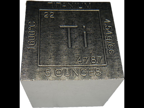 Elemental Cube Collection: 1.25 Inch  Solid Titanium Cube