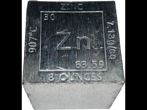 Elemental Cube Collection: 1.25 Inch  8 Ounce Solid Zinc Cube