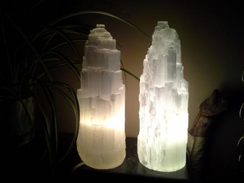 "Selenite Tower Lamps - Medium (10"" Tall)"