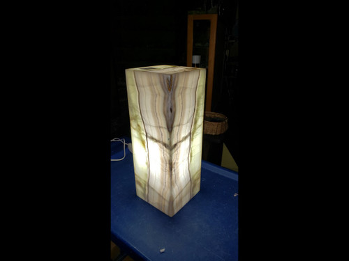 Beautiful Rectangle Stone Onyx Table Lamp - Beautiful Greens and Earthy Colors