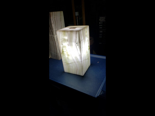 Beautiful Rectangle Stone Onyx Table Lamp - Beautiful Rare Greens and Earthy Colors