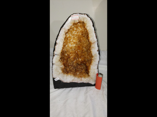 """Citrine Church Crystal Cathedral Geode -  Great Golden Color - 12"""" Tall"""
