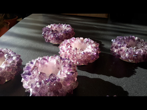 Amethyst Crystal Cluster 'Crown Point' Tealight Candle Holder