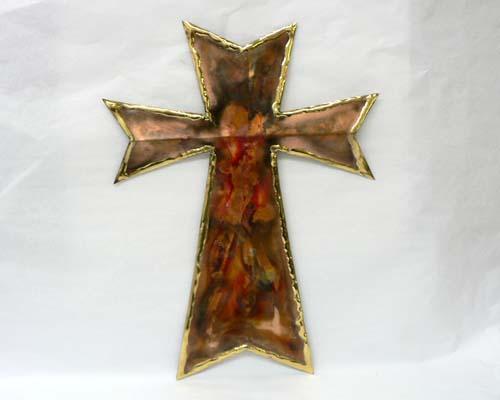 """Copper Wall Cross - 9"""" Tall"""