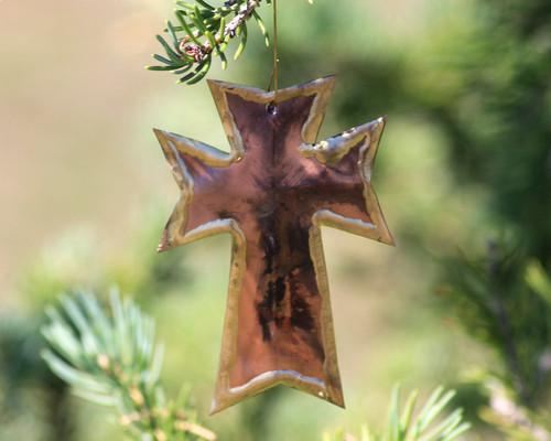 """Copper Wall Cross - Ornament - 3"""" Tall"""