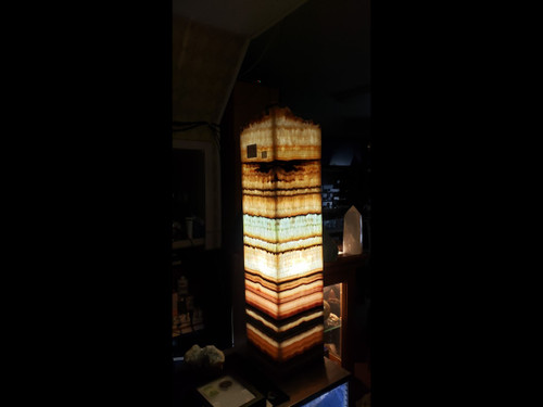 Beautiful Square Stone Onyx Table Lamp  With  Rare Aqua and Earthy Colors