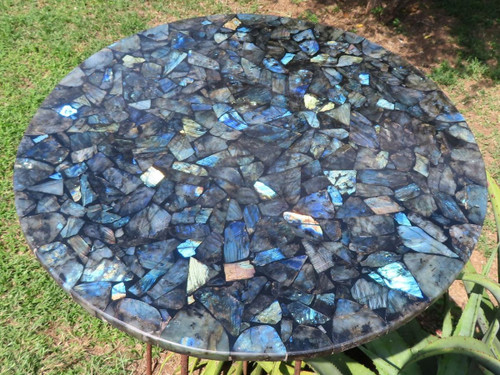 Beautiful One of A Kind High Grade Labradorite Mosaic Round Table Top