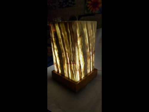 """Stone Onyx Table Desk Lamp  With Rich Earthy Colors - 8.5"""" Tall"""
