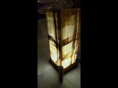 """Stone Onyx Table Desk Lamp  With Rich Earthy Colors - 12"""" Tall"""
