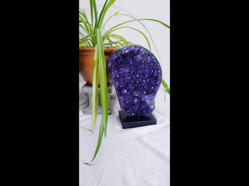 Polished Uruguayan Amethyst Crystal Free Form on Stand