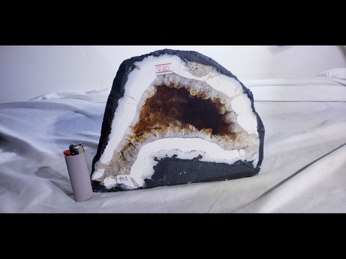 """Citrine Church Crystal Cathedral Geode:  Nice Cave - Almost 10"""" Wide"""