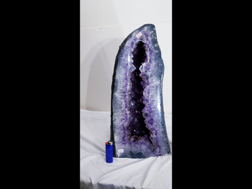 Amethyst Church Crystal Cathedral Geode Tower:  18 inches - Golden Rutile Needles