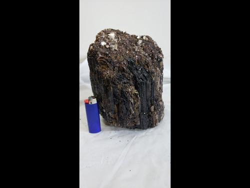 Large Standing Black Tourmaline Specimen - excellent striations