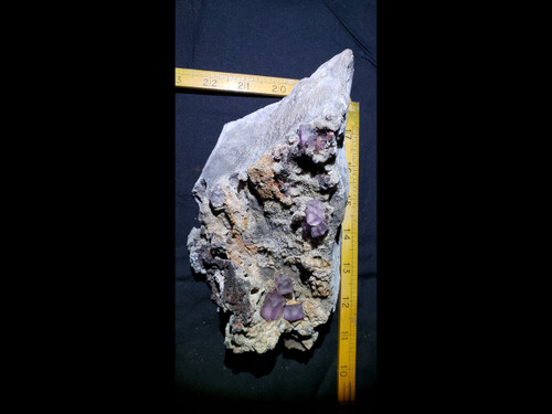 "Large ""Fire Fluorite"" Purple Fluorite on Matrix With Red Long Wave Fluorescent - Museum Grade Specimen"